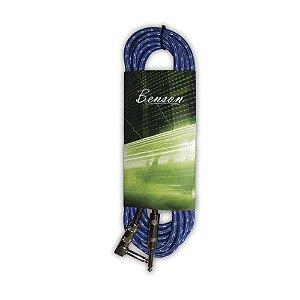 """Cabo para Instrumentos Benson P10 GC056B de 10m azul com ponta """"L"""" de 120 Ohms duplamente blindado"""