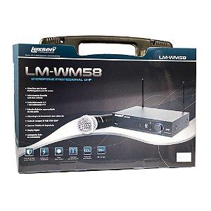 Microfone sem fio de mão UHF Lexsen LM-WM58 multifrequência com um bastão