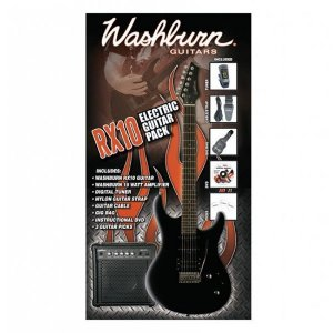 KIT Washburn RX10B PAK com Guitarra RX10 Preta e Combo WA15G 15W 220V