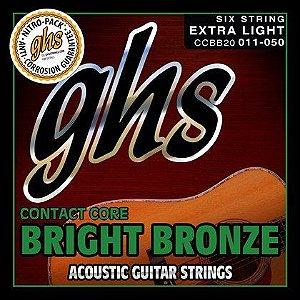 Encordoamento para Violão de Aço GHS CCBB20 Extralight Série Contact Core (Bright Bronze)