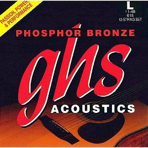 Encordoamento para Violão de Aço GHS 615 Light Phospor Bronze