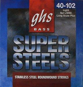 Encordoamento para Contrabaixo GHS L5000 Light (Escala Longa) Série Super Steels (contém 4 cordas)