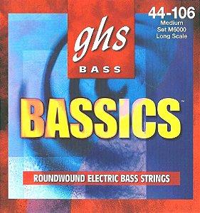 Encordoamento para Contrabaixo GHS M6000 Medium (Escala Longa) Série Bassics (contém 4 cordas)