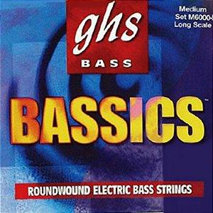 Encordoamento para Contrabaixo GHS M6000-5 Medium (Escala Longa) Série Bassics (contém 5 cordas)