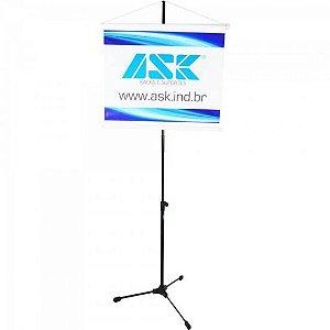 Pedestal P/ Banner com Tripé Retrátil e Extensor Removível BNR Preto ASK