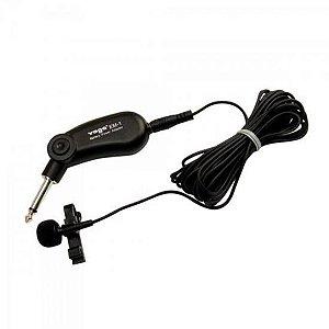 Microfone de Eletreto Ominidirecional Com Fio Lapela EM1 Preto YOGA
