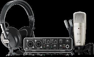 KIT Interface de Áudio para Estúdio Behringer U-Phoria Studio Pro Interface USB UMC202HD Microfone C-1 e Headphone HPS5000