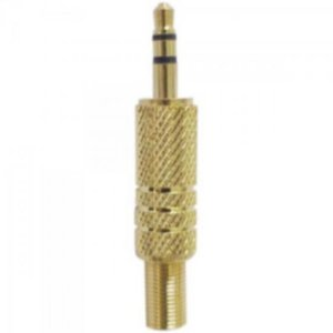 Plug P2 Stereo com Mola Gold GENÉRICO (Pacote com 50 Unidades)