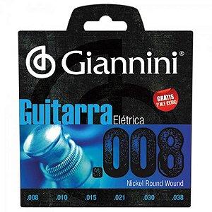 Encordoamento Para Guitarra GEEGST8 Super Leve 0.08 GIANNINI