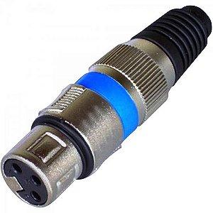 Conector XLR Fêmea 3 Pinos Azul GENÉRICO (Pacote com 10)