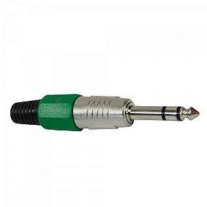 Plug P10 Stereo Plástico PGPZ0017 Verde STORM (Pacote com 10)