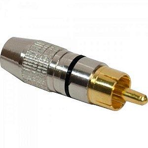 Plug RCA Profissional Metal PGRC0012 Preto STORM (Pacote com 10)