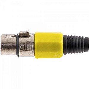 Conector Cannon XLR Fêmea JCCN0008 Plástico Amarelo STORM (Pacote com 10)