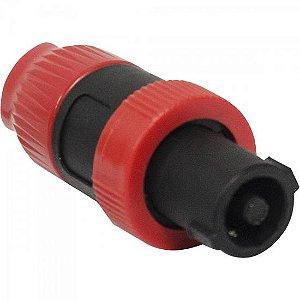 Conector Speakon de Linha Macho 4 Pólos PGSP0003 Preto/Vermelho STORM (Pacote com 10 Unidades)