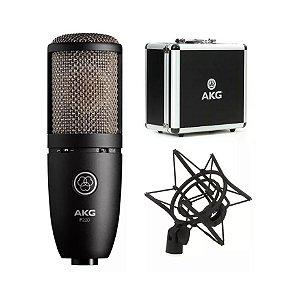 Microfone Condensador AKG P420 Perception Cápsula Dupla com Shock Mount e Maleta