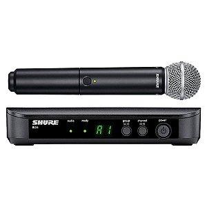 Microfone Sem Fio Shure BLX24 SM58 Sistema De Mão Profissional BLX24BR Bastão SM 58
