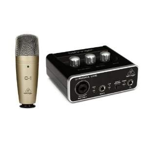 KIT Interface de Áudio para Estúdio Behringer U-Phoria Studio Interface USB UM2 e Microfone C-1