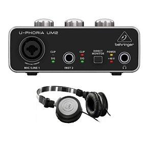 KIT Interface de Áudio para Estúdio Behringer U-Phoria Studio Interface USB UM2 e Fone de Ouvido AKG K414P