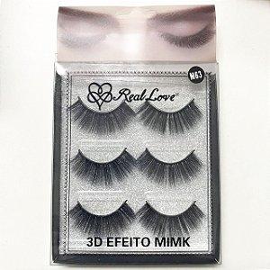 Cílios 3D Efeito Mink 3 Pares M63 - Real Love