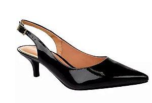 Scarpin Chanel Vizzano Salto Baixo Fino Preto 23606