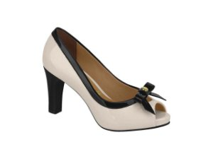 Sapato Peep Toe Vizzano C/ Laço Creme/preto 40112