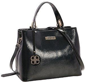 Bolsa Chic Verniz Chenson Feminino Azul & Preto 3482649