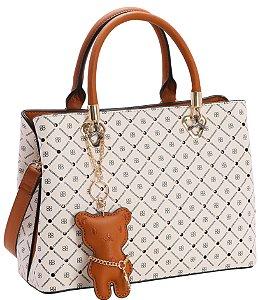 Bolsa Chic Monograma Star Chenson Tiracolo Off White 3482734
