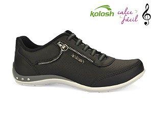 Tênis Feminino Thurso Black Casual Chic Kolosh Preto C0622a