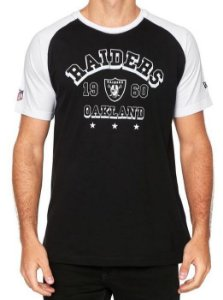 Camiseta New Era Raiders Raglan Preto / Branco