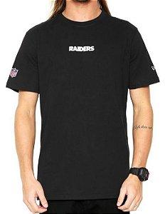 Camiseta New Era Raiders Escrita Preto