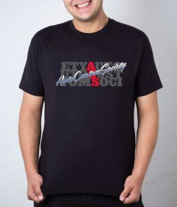 Camiseta preta AutoCustom Society Embaralhado