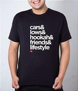 Camiseta preta Carros + Rebaixados + Narguilé + Amigos + Estilo de Vida