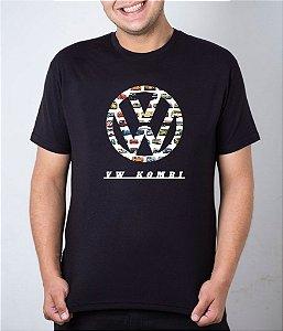 Camiseta preta emblema VW Kombi