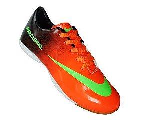 5c5db27bbe8 Tênis Futsal Nike Mercurial Vortex Laranja e Preto MOD 10642 Lançamento 2013