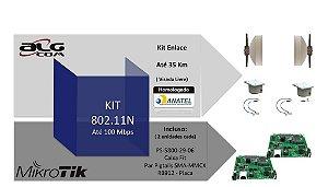 Kit Enlace ALGcom Mikrotik 802.11N - 100 Mbps para até 35KM