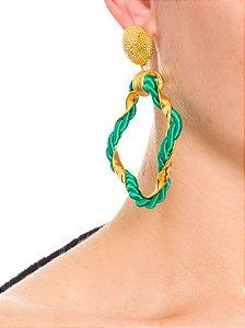 Brinco cordão argola verde dourado