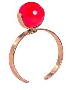 Bracelete bola vermelha dourado
