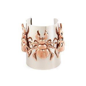 Bracelete três besouros ouro rose