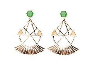 Brinco Amonrá jade esmeralda e cristal dourado