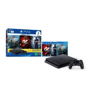 PS4 - Console Playstation 4 Slim 1TB Bundle (God of War, Uncharted 4, Gran Turismo Sport) - Oficial Sony Brasil