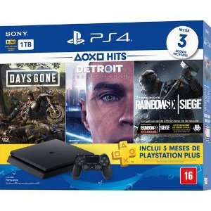 PS4 - Console Playstation 4 Slim 1TB Bundle (Days Gone, Detroit, Rainbow Six Siege) - Nacional