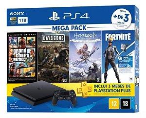 PS4 - Console Playstation 4 Slim 1 TB + 4 Jogos