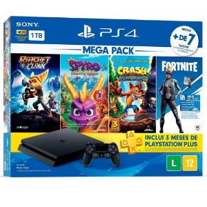 PS4 - Console Playstation 4 Slim 1TB Bundle (Ratchet Clank, Spyro, Crash Bandicoot N. Sane Trilogy) - Nacional