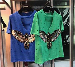 T-shirt AGUIA CORES VERDE, AZUL E PINK