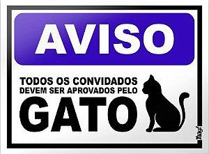 Placa Decorativa - Aprovados pelo gato