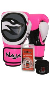 0735d485d Kit Luva Naja Colors Rosa Fluor + Bandagem + Protetor Bucal