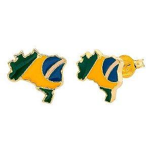 Brinco Mapa Bandeira Do Brasil Folheado A Ouro 18k X
