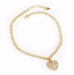 Pulseira Coração Cheio Pequeno Cristal Folheado A Ouro 18k