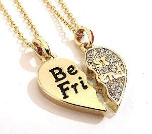 Colar Amizade Best Friends Melhores Amigas Folheada Ouro B05