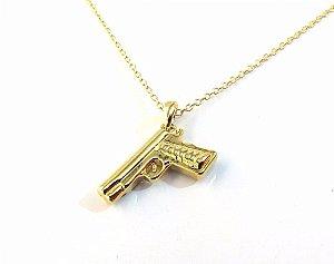 Colar Policial Arma Glock Revolver Automático Folheado Ouro